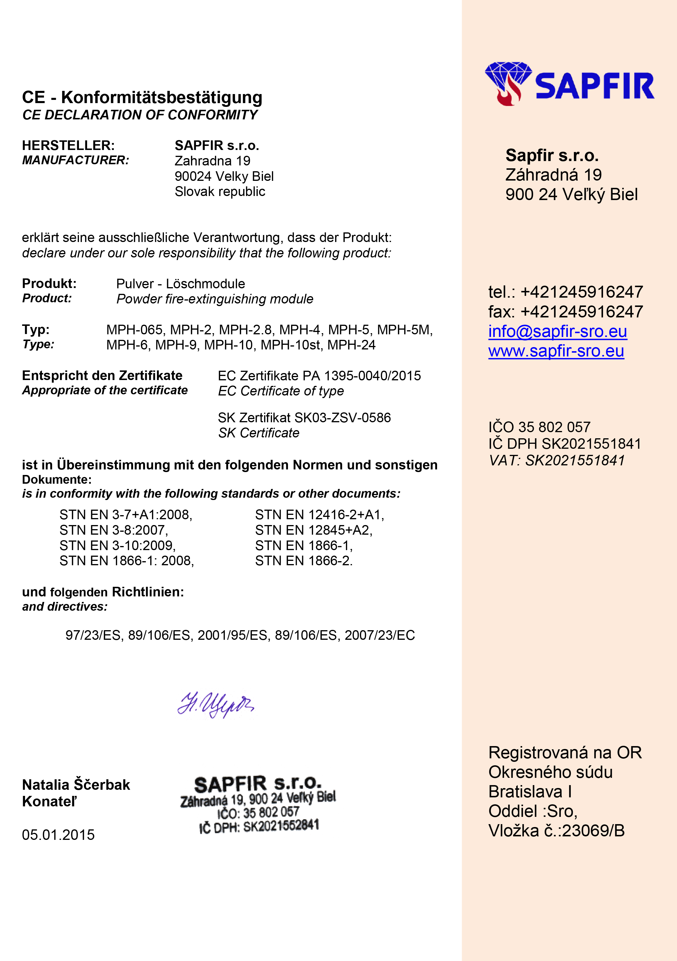 CE Komformitätsbestätigung Pulver-Löschmoduie